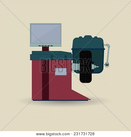 Balancing Machine For Cars. Equipment For Car Repair. Vector Illustration Of Tire Fitting Equipment.