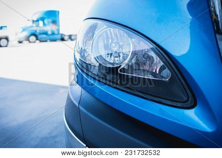 18 Wheeler Semi Truck Headlight Headlamp In Parking Lot