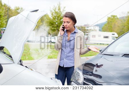 Woman Calling To Report Car Accident On The Road