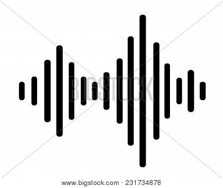 The Image Of A Sound Wave In Style Flat. Vector Black And White Illustration.
