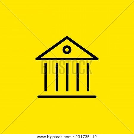 Line Icon Of Ancient Building. Museum, Bank, Government Building. Building Concept. Can Be Used For