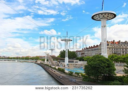 Lyon, France - June 16, 2016: Embankment Of Rhone River And Open-air Swimming Pool In Downtown Lyon