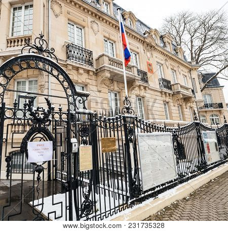 Strasbourg, France - Mar 18, 2018: Russian Colsulate Architecture Building With Russian National Fla