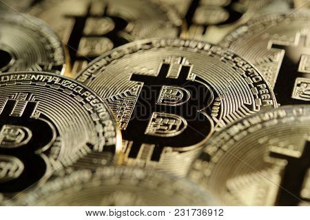 Many Golden Bitcoins Together As Conceptul Background For Crypto Currency