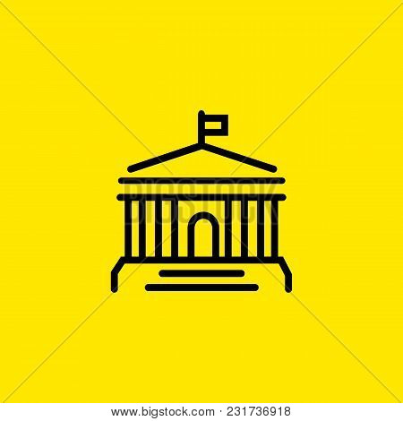 Icon Of Building With Columns And Flag On Top. Bank, Museum, Court. Building Concept. Can Be Used Fo