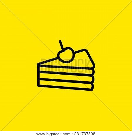 Icon Of Cake. Slice, Pie, Cherry. Dessert And Restaurant Concept. Can Be Used For Topics Like Treat,