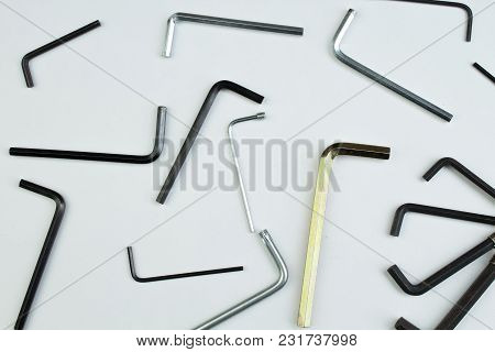 Hex Key On White Background. Tools. Top View