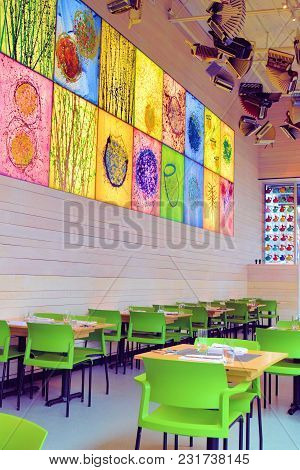 March 8, 2018 In Seattle, Wa:  Restaurant With An Artistic Design Including Stained Glass Windows Wi