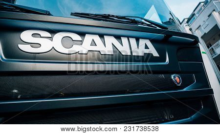 Strasbourg, France - Mar 5, 2018: Scania Logotype Insignia Logo On Front View On Part Of The Radiato