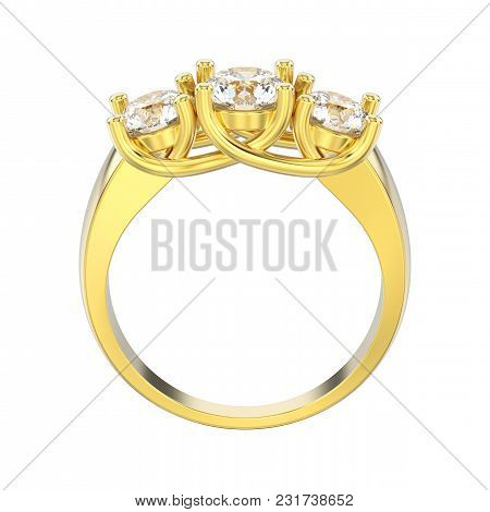 3d Illustration Isolated Yellow Gold Three Stone Diamond Ring On A White Background