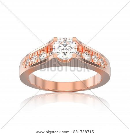 3d Illustration Isolated Rose Gold Decorative Engagement Wedding Diamond Ring With Reflection On A W