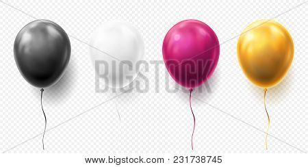 Realistic Glossy Golden, Purple, Black And White Balloon Vector Illustration On Transparent Backgrou