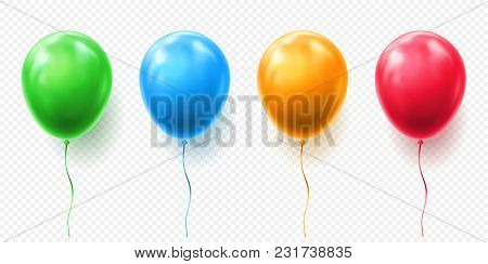 Realistic Red, Orange, Green And Blue Balloon Vector Illustration On Transparent Background. Balloon