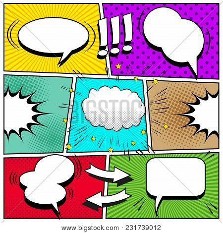 Comic Book Page Background With White Speech Bubbles Arrows Exclamation Points Sound Halftone Rays D