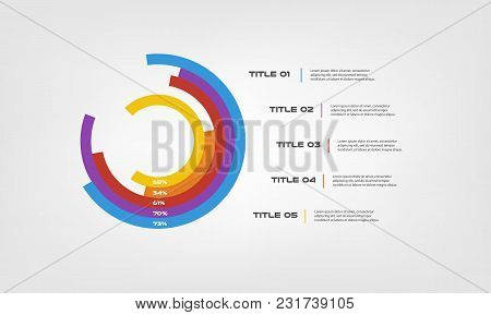 Circular Chart Color Infographics Step By Step In A Series Of Circle. Element Of Chart, Graph, Diagr