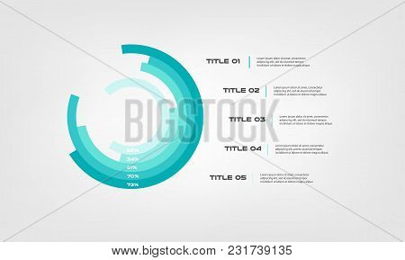 Circular Chart Color Infographics Step By Step In A Series Of Circle. Element Of Graph, Diagram With