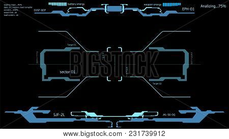 Futuristic Interface Of The Spacecraft. Interface Space Helmet. The Dashboard Of Spaceship Pilots Hu