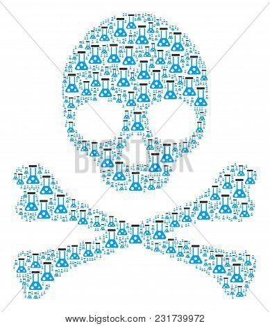 Skull Composition Composed Of Chemistry Pictograms. Vector Chemistry Design Elements Are Organized I