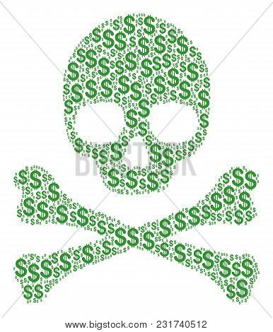Death Concept Composed Of Dollar Pictograms. Vector Dollar Elements Are Composed Into Geometric Dead