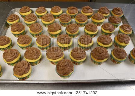 Delicious Handmade Brown Sugar And Vanilla Cupcakes With Homemade Chocolate Butter Cream Frosting Si