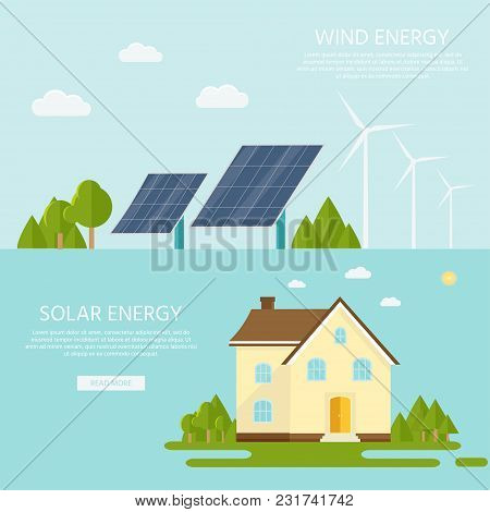 Green Modern House With Solar Panels And Wind Turbine. Eco Friendly Alternative Energy. Ecosystem In