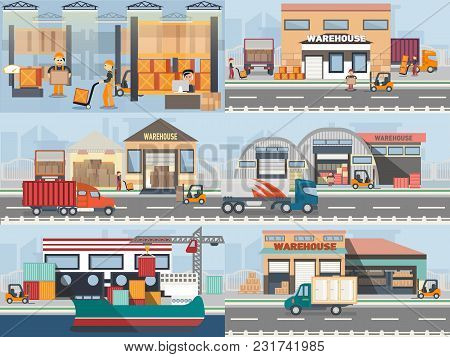 Warehouse Building And Shipping Process In Flat Style. Logistic Objects With Elements Like Vehicle,