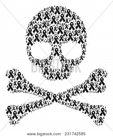 Skull Concept Designed Of Mourning Ribbon Elements. Vector Mourning Ribbon Icons Are United Into Con