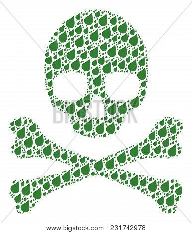 Skull Pattern Done Of Plant Leaf Icons. Vector Plant Leaf Elements Are Combined Into Mosaic Risk Ill
