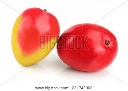 Mango Fruit Isolated On White Background Close-up.