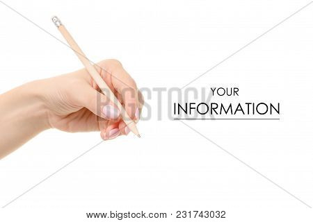 Pencil In Hand Pattern On White Background Isolation