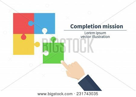 Completion Mission Concept. Businessman Hold Puzzle. Business Metaphor. Successful Implementation Pl