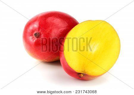 Mango Fruit And Half Isolated On White Background Close-up.