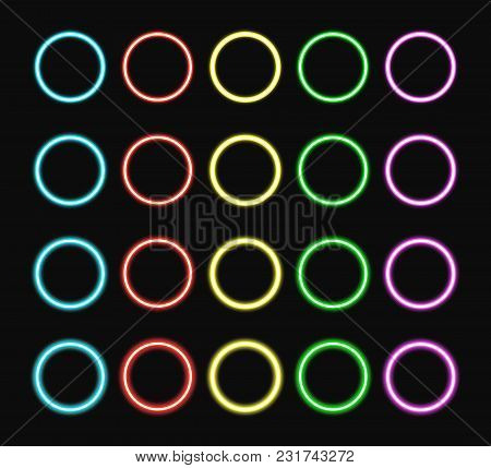 Colorful Neon Ring Set. Color Glowing Rings Various Intensity Light. Vector Illustration.