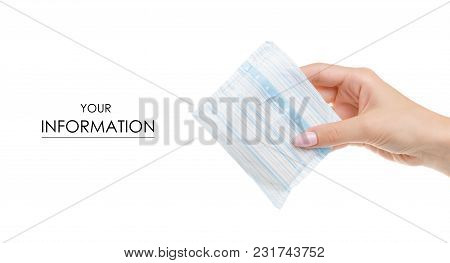 Sanitary Napkin In Female Hand Pattern On White Background Isolation