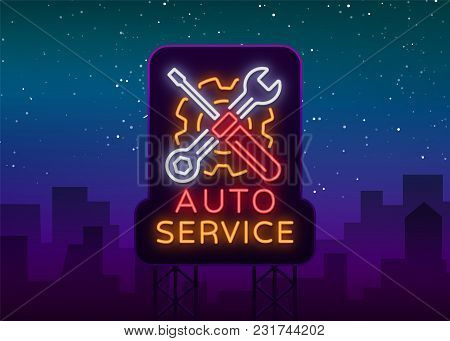 Car Service Repair Logo Vector, Neon Sign Emblem. Vector Illustration, Car Repair, Shiny Signboard F