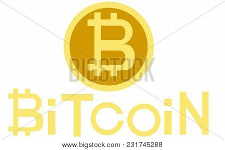 Golden Bitcoin Digital Currency, Futuristic Digital Money, Technology Worldwide Network Concept And