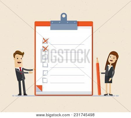 Business People, Man And Woman Standing With Big Clipboard And Checklist. Vector Illustration Flat