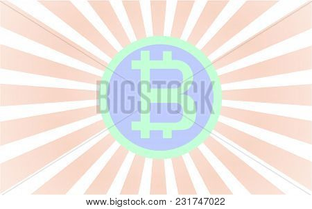 Green And Blue Bitcoin With Rad Rays Coming From Behind The Coin. Vector Illustration. Eps 10.