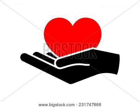 Heart In Hand. Giving Heart Logo Template For Charity, Health, Voluntary, Nonprofit Organization, Is