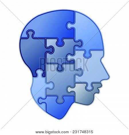 Blue Puzzle Of Human Mind, Vector Illustration