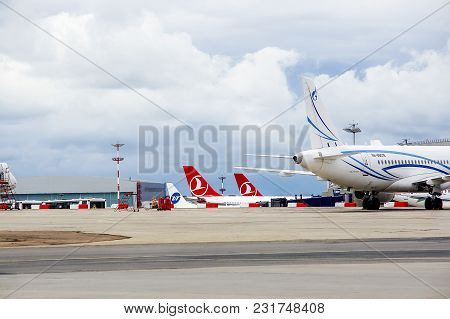 Parking Of Planes At Airport Vnukovo, A View Of Tails Part Of Planes Of Airlines Turkish Airlines, G