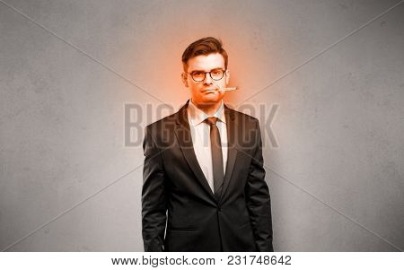 Fever businessman with burning red head concept