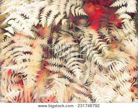 Romantic Fern Leaf Digital Illustration. Pink Fern Leaf. Blurry Floral Background. Wedding Template.
