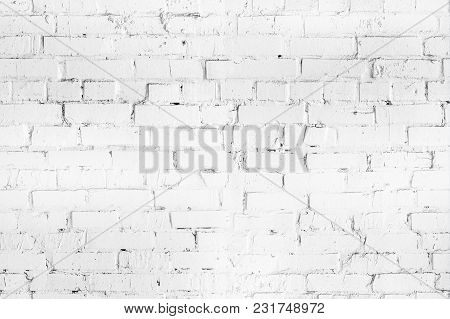 White Brick Seamleass Wall Texture. Aged  Wheathered Background. Abstract White Textured Pattern.