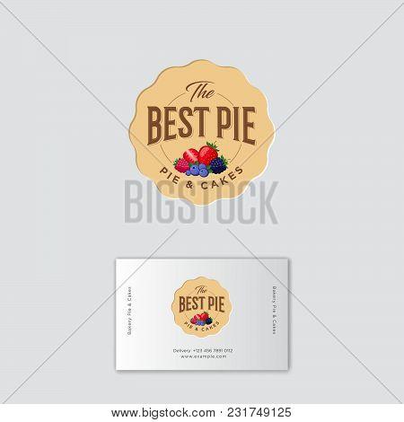 Best Pie Logo. Pie Labels. Pie With Strawberry, Blueberry, Black Berry, Raspberry. Identity. Busines
