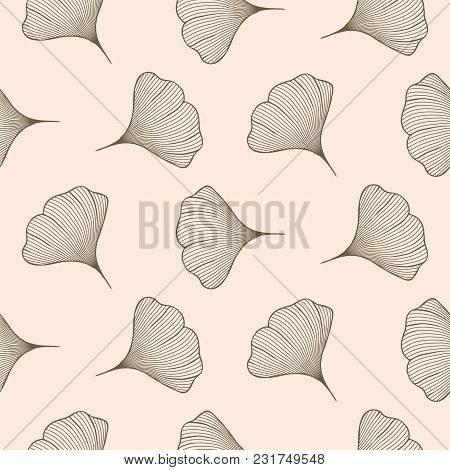 Ginkgo Leaves Seamless Vector Pattern. Line Style Pink Repeat Floral Background.