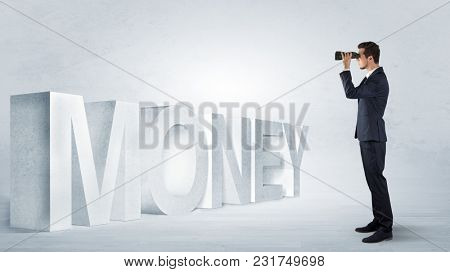 Handsome businessman looking forward with binoculars at a job, income and money concept