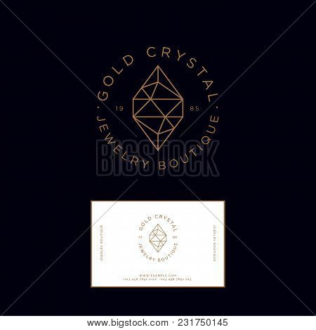 Golden Crystal Logo. Identity, Business Card. Jewelry And Bijouterie Emblem.