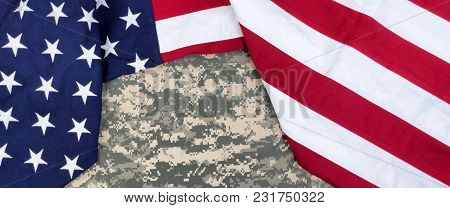 Red, White And Blue American Flag Surrounding Military Uniform For Memorial Day Or Veteran Day Backg