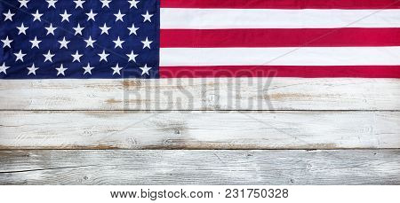 Upper Border Of Red, White And Blue American Flag For Memorial Day Or Veteran Day Background On Vint